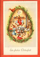 GBG-26  Joyeuses Pâques Ein Frohes Osterfest. Famille De Lapins à La Cuisine, Ecureuil. Circulé En 1957 - Pâques
