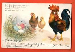 GBG-31  Joyeuses Pâques, Fröhliche Ostern, Coq, Poule Et Poussin Et Oeufs. Précurseur.Circ. 1900 De Cologne Vers Roubaix - Easter