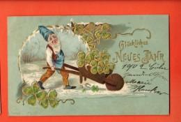 GBG-32 Bonne Année, Glückliches Neues Jahr, Nain Avec Brouette De Trèfles à Quatre.nani, Gaufré,geprägt,1901 - Neujahr