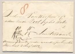 """Nederland - 1852 - Complete Vouwbrief """"annex Monster Zonder Waarde, Per Lemster Stoomboot 3 Augs 1852"""" Naar Amsterdam - Niederlande"""