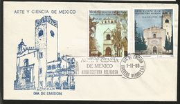 J) 1980 MEXICO, ACTOPAN, TLAYACAPAN, ART AND SCIENCE OF MEXICO, RELIGIOUS ARCHITECTURE XVI CENTURY, MULTIPLE STAMPS, FDC - Mexique