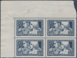 N°__252 CAISSE D'AMORTISSEMENT, BLOC DE 4 TIMBRES TYPE I ET II SE TENANT, TIMBRE NEUF**, 1928 - Neufs