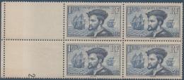 N°__297 JACQUES CARTIER 1934 NEUFS** BLOC DE 4 TIMBRES - Coins Datés