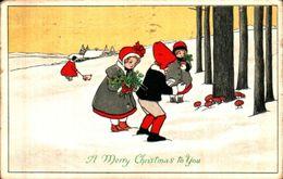 Attribuée à Pauli EBNER - A Merry Christmas To You, Enfants Neige Champignons - Ebner, Pauli