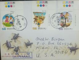 L) 2007 CHINA, TURTLES, CHILDREN, BIRD, BULL, DUCK, MULTIPLE STAMPS, CIRCULATED COVER FROM CHINA TO USA, AIR MAIL - 1949 - ... People's Republic