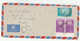 Air Mail ZAMBIA COVER 2x 1965 ITU  1x  ILO Stamps To GB Un United Nations - Zambie (1965-...)