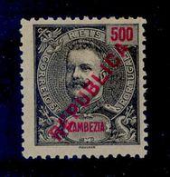 ! ! Zambezia - 1917 King Carlos Local Republica 500 R - Af. 101 - No Gum - Zambezia