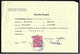 Besuchs-Zeugnis 1927 Bis 1931 Mit Gebührenmarke  -  Hochschule Für Musik / München 1965 - Diplome Und Schulzeugnisse