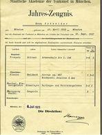 Jahres-Zeugnis 1927  -  Trompete / Klavier  - Staatliche Akademie Der Tonkunst In München - Diplome Und Schulzeugnisse