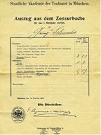Auszug Aus Dem Zensurbuche 1927 / 1928  -  Trompete  -  Staatliche Akademie Der Tonkunst In München - Diplome Und Schulzeugnisse