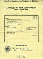 Auszug Aus Dem Zensurbuche 1929 / 1930  -  Trompete  -  Staatliche Akademie Der Tonkunst In München - Diplome Und Schulzeugnisse
