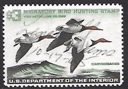 US  1965 RW32 $3 Canvasback Ducks Used   2016 Scott Value $12   RenaM - Canards
