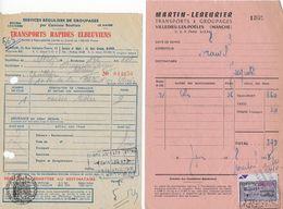 """Lot  11 Documents  Avec Timbres Fiscaux Transport Ou Timbres Secs """"Transport : T.R."""" - Fiscaux"""