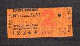 """Ticket Transport,Métro, Bus,Autobus,Chemin De Fer,Tramway Ou à Identifier  """"Carte Orange. """" Classe 2 Jan 1976 - Autobus"""