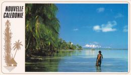 Carte Double (88 X 152 Mm) Nouvelle Calédonie - Paysage Des Iles - Meilleurs Voeux Dans Toutes Les Langues Du Pacifique - Nouvelle Calédonie