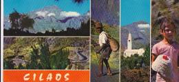 Cilaos - Carte Panoramique (99 X 210 Mm) - Multivues (Cirque, Route, Eglise, Fillette Des Hauts) Circ Sans Date - La Réunion