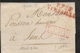 VERSAILLES Seine Et Oise INDICE 10 Marque Rouge P.72.P VERSAILLES Grand V Sans Date Ni Texte     ...G - Marcophilie (Lettres)