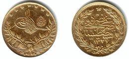 TURKEY, Muhammad V Al-Ghazi - 50 Kurush Gold AH 1327 Yr.7 (1915) - KM#775 Y#54aUnc - Turkey