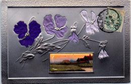FANTAISIE - Carte Relief Paysage Et Fleurs - Fantaisies