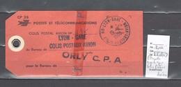 Lettre  Cachet De  Gare De Lyon - Rhone - Etiquette De Sac - Colis Postaux Avion - Marcophilie (Lettres)