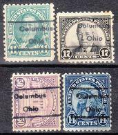 USA Precancel Vorausentwertung Preo, Locals Ohio, Columbus 454, 4 Diff. Perf. 3 X 11x11, 1 X 11x10 1/2 - Vereinigte Staaten