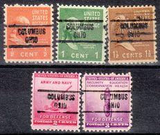 USA Precancel Vorausentwertung Preo, Locals Ohio, Columbus 734, 5 Diff. - Vereinigte Staaten