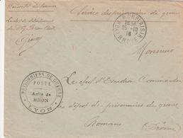 France Lettre Prisonnier De Guerre Asile De Bron Lyon 1916 - WW I