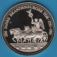 DEUTSCHLAND 200 JAHRE BRANDENBURGER TOR 1791-1991 Medaille Quadriga - Allemagne