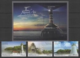 Malaysia (2013) Yv. 1666/68 + Bf. 159 /  Leuchtturm - Faro - Phare - Lighthouse - UNUSUAL Glow In The Dark - Vuurtorens