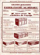 """Grands Magasins Du Panier Fleuri """"Au Départ"""" La Chaux-de-Fond / Malles - Valise - Suit Case / Voyage / Neuchâtel Suisse - Buvards, Protège-cahiers Illustrés"""