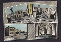 CPSM ITALIE - COPERTINO - SALUTI DA - TB CP Multivue Dont Intérieur Du Village Piazza Del Popolo , Edificio Scolastico - Other Cities