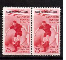 Italy(Egeo)-1934,(Mi.143) Pairs ,Football, Soccer, Fussball,calcio,MNH - Fußball-Weltmeisterschaft
