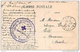 Cachet Hopital Anglais De St-Jean CAEN 1915 Frappe Superbe Cp De Caen - Marcofilie (Brieven)
