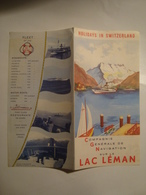 CGN. LAC LÉMAN. HOLIDAYS IN SWITZERLAND - SUISSE, SWITZERLAND, 1955 APROX. NAVIGATION SUR LE LAC LÉMAN. - Toeristische Brochures
