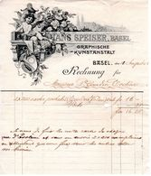 Facture à M. Gaudin D'Evolène Valais Pour L'achat De 400 Cartes Postales En 1903 / Hans Speiser Basel / Graphische - Svizzera