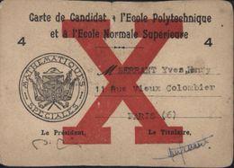Carte De Candidat école Polytechnique Et école Normale Supérieure Cachet Mathématiques Spéciales X - Postmark Collection (Covers)