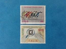 1986 ITALIA FRANCOBOLLI USATI TWO STAMPS USED - MARCIALONGA DI FIEMME E FASSA + GIORNATA DELLA FILATELIA - 6. 1946-.. Republic