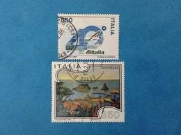 1986 ITALIA FRANCOBOLLI USATI TWO STAMPS USED - ALITALIA 550 LIRE + TURISTICA ACITREZZA 350 LIRE - 1981-90: Usati