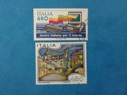 1986 ITALIA FRANCOBOLLI USATI TWO STAMPS USED - LAVORO ITALIANO OLIVETTI 650 LIRE + TURISTICA CAPRI 450 LIRE - 1981-90: Usati