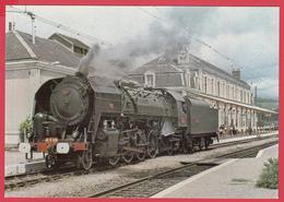 CP-15-GARE De NEUSSARGUES - LOCOMOTIVE 141r420  -Animation **-SUP** 2 SCANS - Stations With Trains