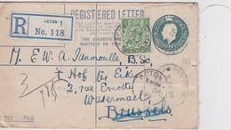 GRANDE BRETAGNE 1920 ENTIER POSTAL LETTRE RECOMMANDEE DE ACTON AVEC CACHET ARRIVEE WATERMAEL/BELGIQUE - Interi Postali