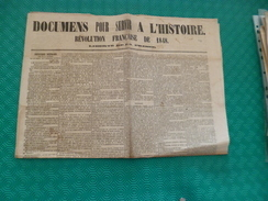 Journal Révolution Française De 1848 Documents Pour Servir à L'histoire. Liberté Presse - Journaux - Quotidiens