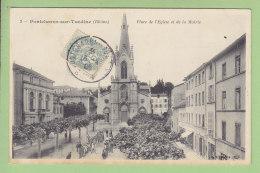 PONTCHARRA SUR TURDINE : Place De L'Eglise Et De La Mairie. 2 Scans. Edition B F - Pontcharra-sur-Turdine