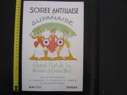 Programme BAL FRANCE D'OUTRE MER Soiree Antillaise Guyanaise 18/4/1936 Madame BRÉVIÉ - Menus
