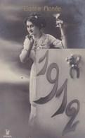 Happy New Year, Bonne Année Gelukkig Nieuwjaar 1912, Young Girl, Jeune Fille (pk43411) - Nieuwjaar