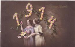 Happy New Year, Bonne Année Gelukkig Nieuwjaar 1914, Young Girls, Jeune Filles (pk43414) - Nieuwjaar