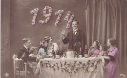 Happy New Year, Bonne Année Gelukkig Nieuwjaar 1914, Party Table, Des Fêtes, Famille, Family (pk43417) - New Year