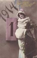 Happy New Year, Bonne Année Gelukkig Nieuwjaar 1914, Young Lady (pk43419) - Nouvel An