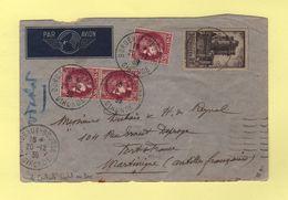 Bordeaux Destination Martinique - Controle Postal Martinique Au Dos - 1939 - Par Avion - Postmark Collection (Covers)