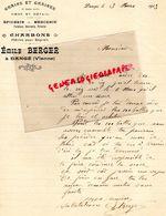 86- DANGE- RARE LETTRE MANUSCRITE SIGNEE EMILE BERGER- HORTICULTURE-AGRICULTURE-GRAINS GRAINES- CHARBONS-EPICERIE-1913 - Agriculture